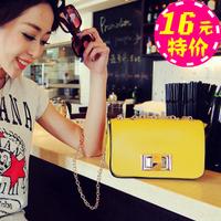 2013 women's vintage handbag summer chain button small bag messenger bag motorcycle lock clutch