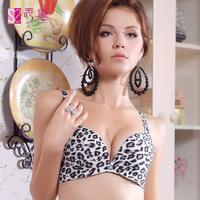 Leopard print glossy seamless bra women's lingerie push up bra plus size
