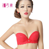 Single-bra cup formal dress red push up sexy embroidery underwear