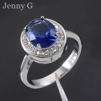 Jenny G Jewelry Size 7,8,9 Classic Blue Sapphire 10KT White Gold Filled  Royal Wedding Ring for Women