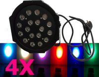 HOT 4PCS 18X3W LED RGB Mini Par Light 54W Slim Par Can DMX Stage Lighting PAR64