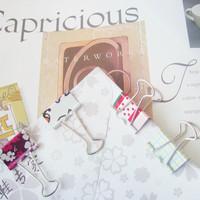 Free shipping wholesale 250pcs/lot Fashion Multicolour print 25MM Binder clip paper clip Clamp memo clips
