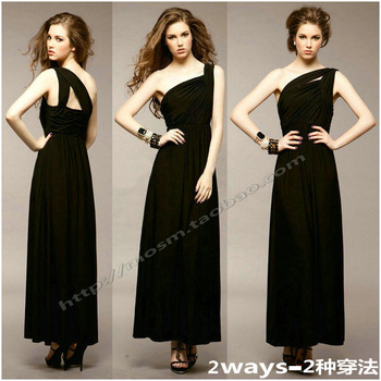 Fashion one shoulder prom slanting collar party queen of banquet annual meeting of company design long evening dress formal