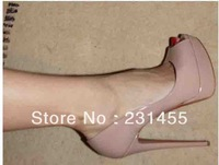 Free shipping Red Bottom Shoes Peack Lady Peep Nude Pumps Platform Sexy Women Shoe Brand Leather Dress Shoes 16cm heel