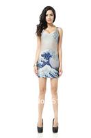 FREE SHIPPING Skirts Women 2013 Fashion Walker TQ029 High Flexible Wave  Printed Slim Vest Skirts Plus Size Wholesale