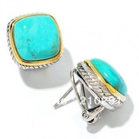 Wholesale Cushion Turquoise Rope Side with Omega Backs Earring