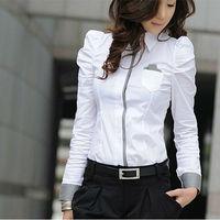 IMIXBOX Sexy OL Women Fashion Shrug Bubble Long Sleeve Slim Cotton Shirt Blouse Top