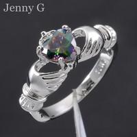 Jenny G Jewelry Size 5-10 Claddagh Lady's Rainbow Topaz 10KT White Gold Filled Irish Wedding Ring for Women