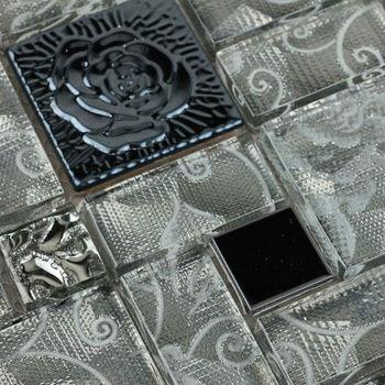Stainless Steel Wall Tiles sheet grey rose patterns art Metal & Crystal Glass blend Mosaic Tile Backsplash ideas tiling HC-140