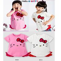 New Girls Summer T shirts kids lovely hello kitty short sleeve t shirts children's pure cotton tops (5pcs/lot)Drop Shipping