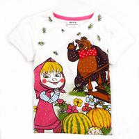 NEW! 5pcs/lot girl masha with bear cartoon t shirt with strass decor short t shirt, free shipping