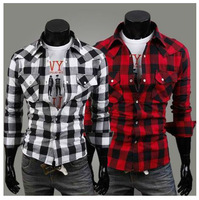 Free shipping!High Quality 2013 Mens Vinage Plaid Check Long Sleeve Shirt,Slim Fit, Shirts For Men