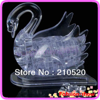 Hot!!! 3D Crystal Puzzle Jigsaw Model DIY Swan IQ Toy Gift Souptoy Furnish Gadget Free Shipping