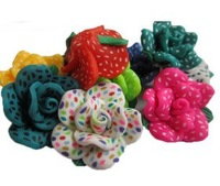 Free Shipping.100Pcs Mixed Polymer Clay Flower Fimo Beads 25mm With Hole.