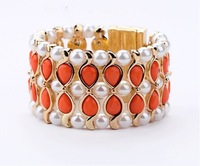 free shipping 2013 new design orange brand bracelets for women gold luxury length 17.5cm