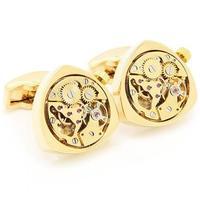 Gold Triangle Watch Movement Cufflinks