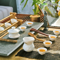 Set tea set white carving tea set cup kung fu tea set