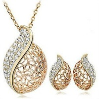 Min. order $9(mix order) Love Cutout Crystal Elegant Design Gold Plated Necklace And Stud Earrings Jewelry set XL217, EH416
