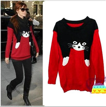East Knitting SW-096 2013 Winter NEW Women Fashion VIVI cat Sweaters Pullovers Warm Tops Free shipping(China (Mainland))