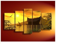 5 Panel Wall Art Landscape Orange Feng Shui Yellow Oil Painting On Canvas Orient Modern Living Room Decor