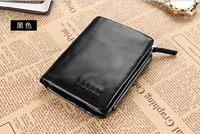 free shipping male wallet short design zipper wallet cowhide wallet men's genuine leather casual purse