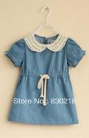 Free Shipping  YB26  Padded denim skirt short-sleeved dress child Pearl
