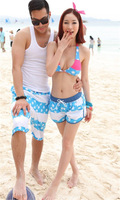 Free Shipping  KZ05 2013 new blue star on the article printed beach pants lovers pants