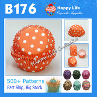 400pcs B176 Orange Polka dots paper Cups packaging box for weddings cake Muffin Paper Cups baby cupcake muffin cases dots