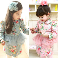 Free Shipping!2014 Autumn Girls Clothing Child Long-sleeve Outerwear 100% Cotton Baby Clothes Big Girl Fashion Jacket Trench