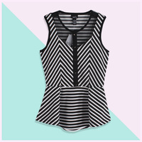 Free shipping New fashiong 2013 summer fashion single slim stripe sleeveless one-piece dress summer top the dress women