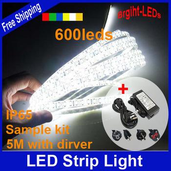 Promotion waterproof led strip with driver SMD3528 5M 120leds/m DC12V/4A Flexible saving lighting string ribbon kit