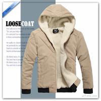 Free shipping Fall Men's padded jacket warm cozy cashmere hooded jacket washed