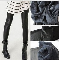 2013 trend fashion plus velvet thickening double layer warm pants legging faux leather boots ankle length trousers