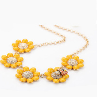 New fashion shining delicate yellow flower acrylic stone short necklace