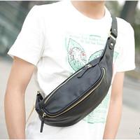 Fashion soft 2013 PU male shoulder bag shoulder bag chest pack black