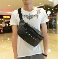 2013 personalized fashion skull bag waist pack chest pack male fashion bag rivet shoulder bag