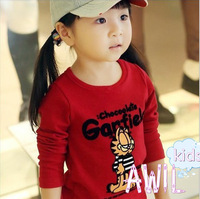 Free Shipping 2013 autumn korean style Casual with Red Garfield Children's Clothes,kids long-Sleeve base T-shirt wholesale