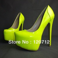 European fashion women's club joining together 16 cm super sexy high heels fluorescence yellow single shoes size 10 11 12 13 14