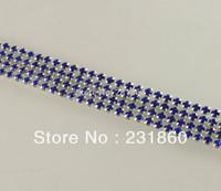 1 Yard 4 Rows Pretty Clear Rhinestone Diamond Mesh Sapphire Banding Trim