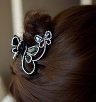 Free shipping,Min order 15$ (Mixed order) Wholesale Fashion Vintage Elegant Cute Butterfly Rhinestone Hair Claws Clip Headwear