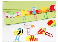 Free shiping Retail Cheap Wooden Cartoon Paper Clips Bookmarks Stationery