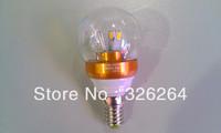 LED Bulb light E14 85-265V transparent 5730SMD 6pcs 3W Golden fitting 10PC/LOT