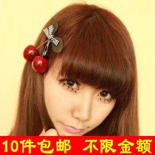 Min.order is$8(mix order) F155 accessories cherry bow side-knotted clip duckbill clip hair clip