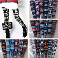 New Hot Women's Nordic Deer Snowflake Knitted Tights Pants 21 style 03