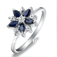 Derongems_Natural Sapphire Flower Rings_Fashion Rings with S925 Sliver plated Real 18KPG Gold_DRR297_Manufacturer Directly Sales