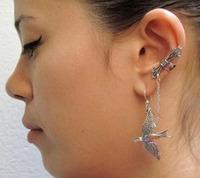 24pcs/lot New Design Punk Vintage Swallow  Connection Ear Cuff Earrings Ear Clip 0704171