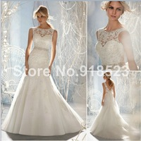 Innovative Design High Neck  Lower Back Tulle Brush Train  Lace Backless Wedding Dresses