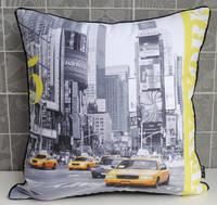 Vintage Retro Modern Yellow US New York Taxi Photo Decorative Pillow Case Cushion Cover Sham