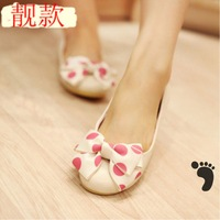2013 flat heel single shoes bow female pans shoes round toe spring and autumn of the four seasons gommini flat loafers