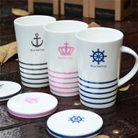 Zakka navy style ceramic cup belt lid mug coffee glass milk breakfast cup